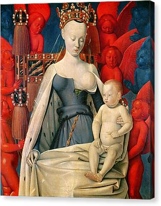 Virgin And Child Surrounded By Angels Canvas Print by Jean Fouquet