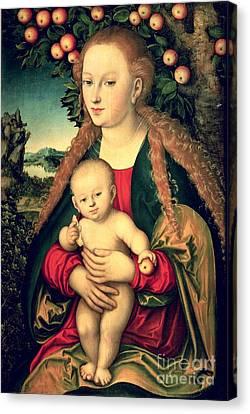Virgin And Child Under An Apple Tree Canvas Print by Lucas Cranach the Elder