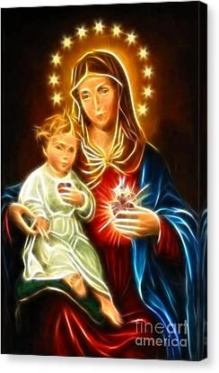 Virgin Mary And Baby Jesus Sacred Heart Canvas Print by Pamela Johnson