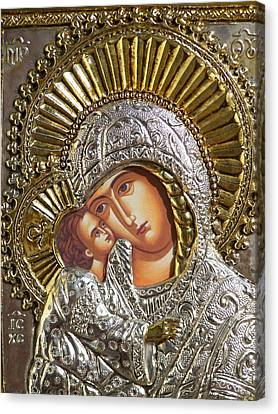 Virgin Mary With Child Jesus Greek Icon Canvas Print by Jake Hartz