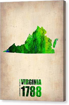 Virginia Watercolor Map Canvas Print by Naxart Studio