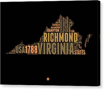 Virginia Word Cloud Map 1 Canvas Print by Naxart Studio