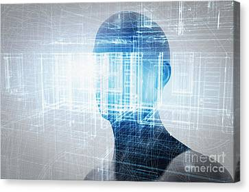 Virtual Reality Projection. Future Science With Modern Technology, Artificial Intelligence Canvas Print by Michal Bednarek
