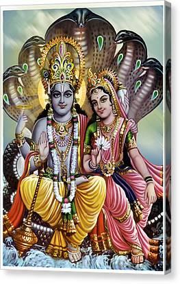 Vishnu God  Canvas Print by Deepika Grover