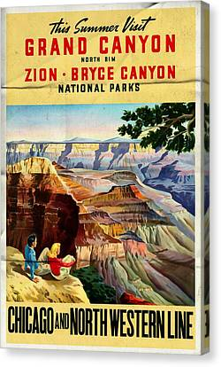 Visit Grand Canyon - Folded Canvas Print by Vintage Advertising Posters