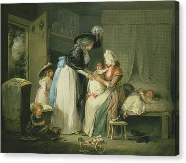 Visit To The Child At Nurse Canvas Print by George Morland