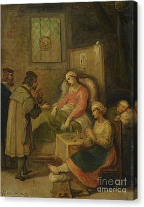 Visiting A Sick Woma Canvas Print by Frans Francken