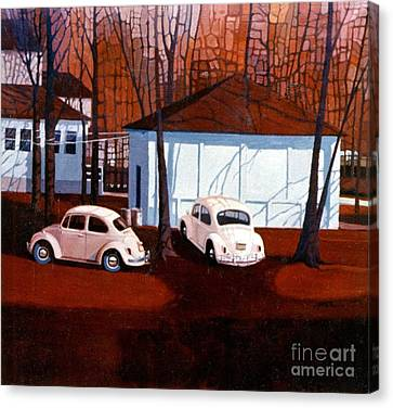 Volkswagons In Red Canvas Print by Donald Maier