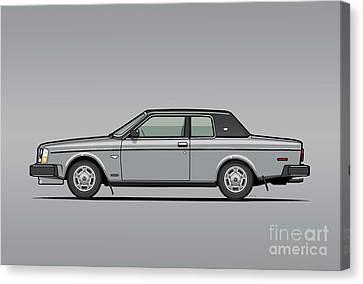 Volvo 262c Bertone Brick Coupe 200 Series Silver Canvas Print by Monkey Crisis On Mars