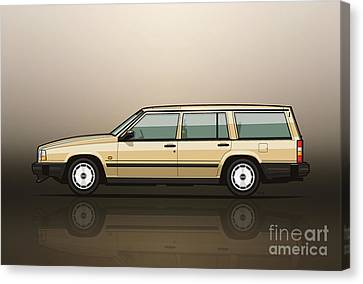 Volvo 740 745 Wagon Gold Canvas Print by Monkey Crisis On Mars