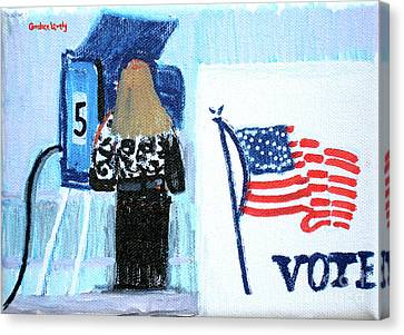 Voting Booth 2008 Canvas Print by Candace Lovely