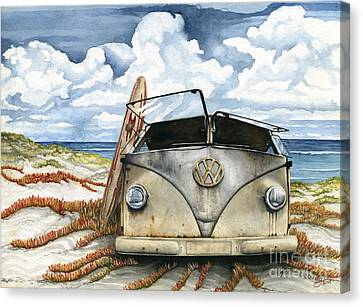 Vw Bus On The Beach Canvas Print by James Stanley