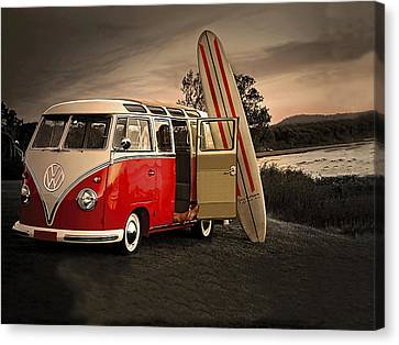 Vw Bus Sufrboard Beach Collection Canvas Print by Marvin Blaine