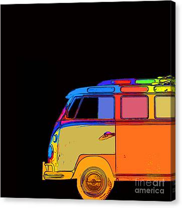 Vw Surfer Bus Square Canvas Print by Edward Fielding