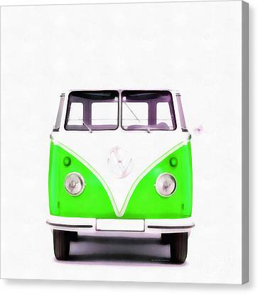 Vw Van Green Painting Canvas Print by Edward Fielding