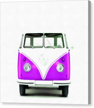 Vw Van Purple Painting Canvas Print by Edward Fielding