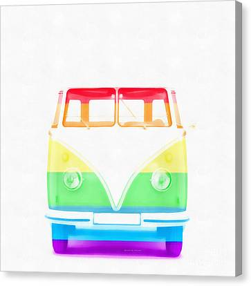 Vw Van Rainbow Canvas Print by Edward Fielding