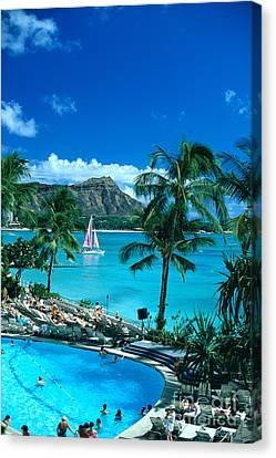 Waikiki And Sailboat Canvas Print by Tomas del Amo - Printscapes
