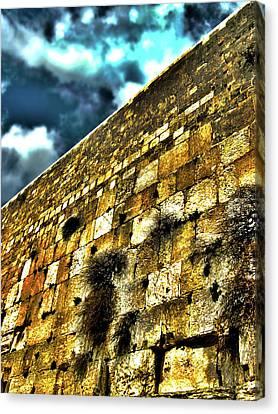 Wailing Wall Hdr Canvas Print by Menucha Citron