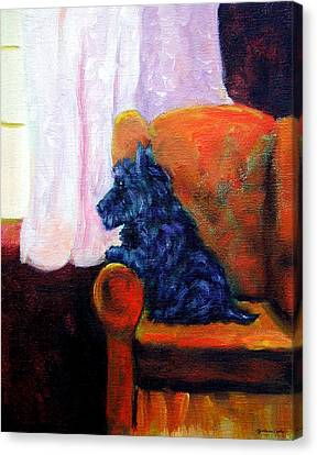 Waiting For Mom - Scottish Terrier Canvas Print by Lyn Cook