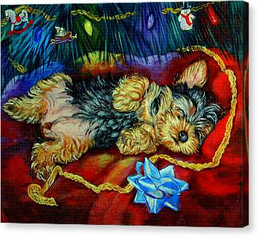 Waiting For Santa Yorkshire Terrier Canvas Print by Lyn Cook