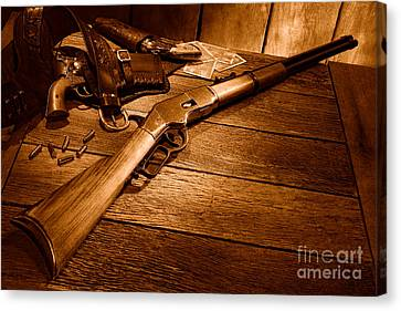 Waiting For The Gunfight - Sepia Canvas Print by Olivier Le Queinec