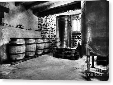 Waiting For Wine Bw Canvas Print by Mel Steinhauer