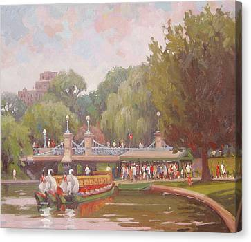 Waiting To Ride The Swans Canvas Print by Dianne Panarelli Miller