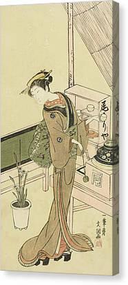 Waitress At The Owariya Teahouse Canvas Print by Ippitsusai Buncho