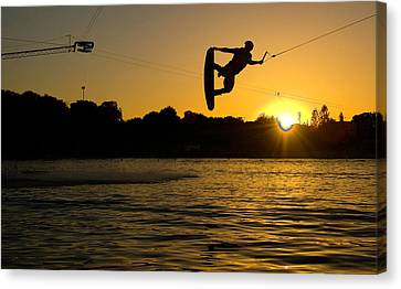 Wakeboarder At Sunset Canvas Print by Andreas Mohaupt
