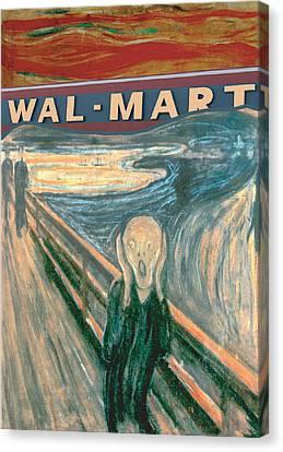 Wal-mart Scream Canvas Print by Ricardo Levins Morales