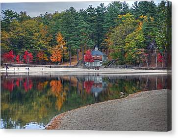 Walden Pond Bath House Concord Ma Beach Canvas Print by Toby McGuire