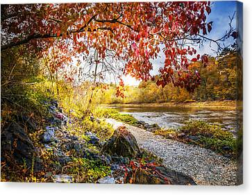Walk Along The River Canvas Print by Debra and Dave Vanderlaan