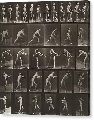 Walking, Ascending, Throwing Canvas Print by Eadweard Muybridge