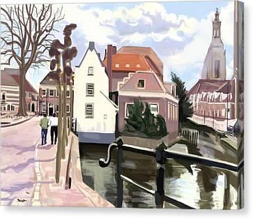 Walking Through Amersfoort Canvas Print by Plum Ovelgonne