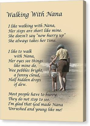 Walking With Nana Canvas Print by Dale Kincaid