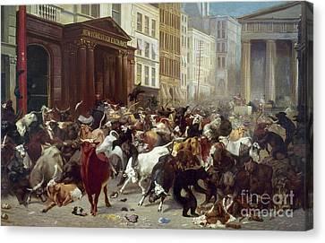 Wall Street: Bears & Bulls Canvas Print by Granger