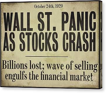Wall Street Crash 1929 Newspaper Canvas Print by Mindy Sommers
