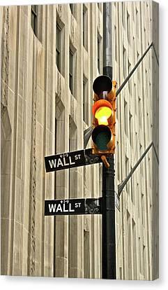 Wall Street Traffic Light Canvas Print by Oonat