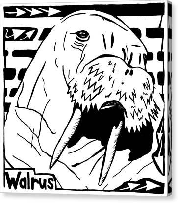 Walrus Maze Canvas Print by Yonatan Frimer Maze Artist