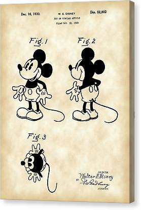 Walt Disney Mickey Mouse Patent 1929 - Vintage Canvas Print by Stephen Younts