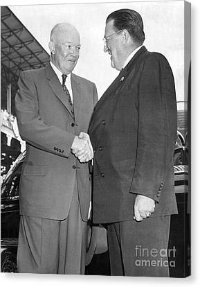 Walter O'malley Greets President Dwight D. Eisenhower To Brooklyn Dodgers' Ebbets Field. 1957 Canvas Print by Barney Stein