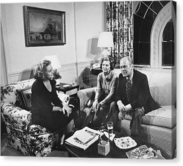 Walters Interviews The Fords Canvas Print by Underwood Archives