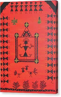 Warli Goddess Canvas Print by Aditi Maaheshwar