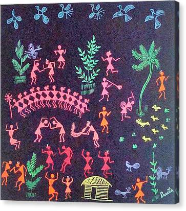 Warli Life 8 Canvas Print by Preeta Rajendra