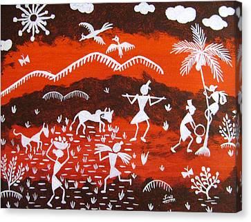 Warli Village Scene Canvas Print by Sowjanya Sreeram
