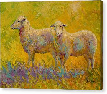 Warm Glow - Sheep Pair Canvas Print by Marion Rose