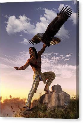 Warrior And Eagle Canvas Print by Daniel Eskridge