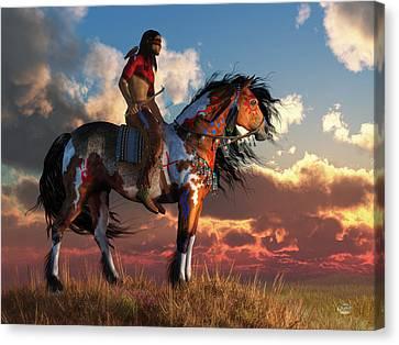 Warrior And War Horse Canvas Print by Daniel Eskridge