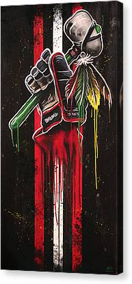 Warrior Glove On Black Canvas Print by Michael Figueroa